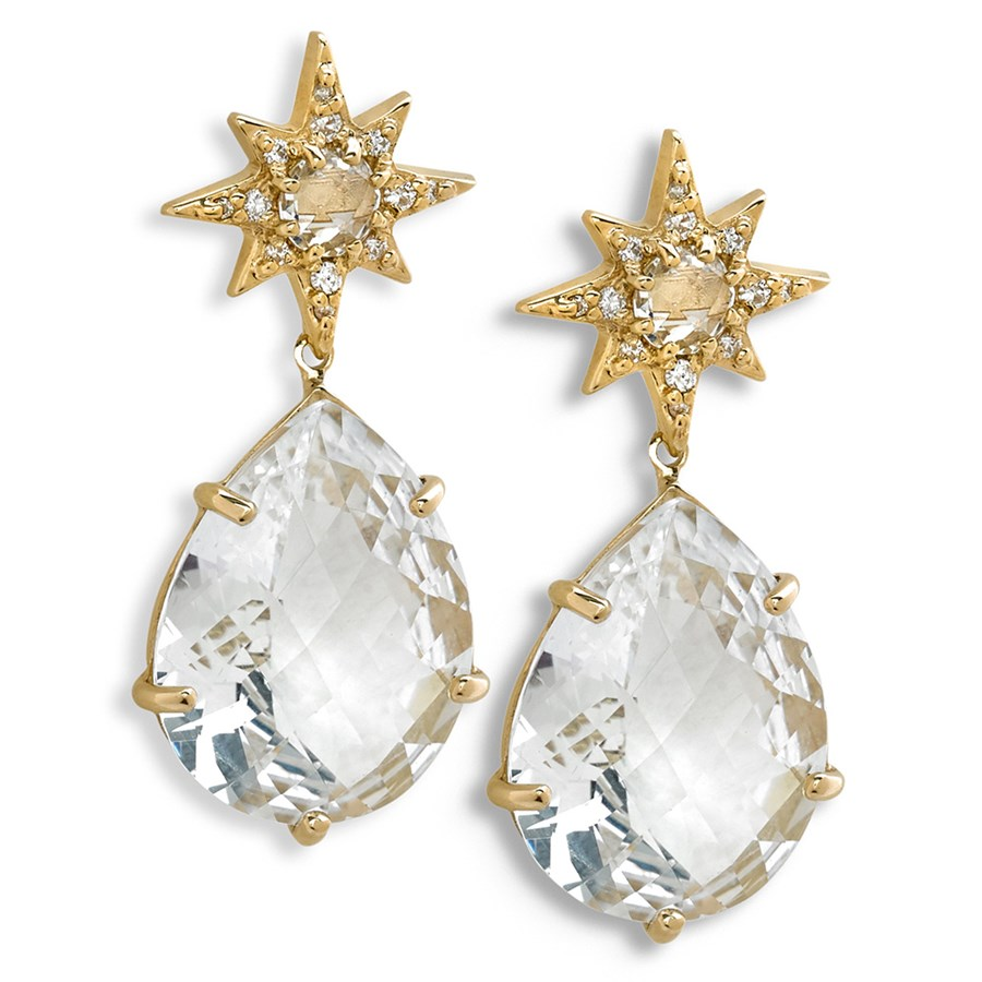 18k Yellow Gold Aztec Starburst Drop White Topaz Diamond Earrings Posts Only Hover To Zoom