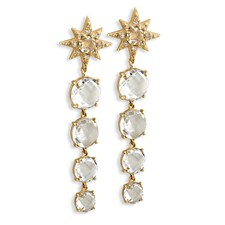 18K Yellow Gold Aztec Starburst Descending White Topaz & Diamond Earrings, Posts Only