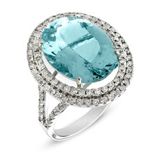18k White Gold Aquamarine & Diamond Halo Ring