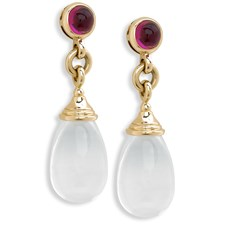 18K Yellow Gold Moon Quartz Drop with Rubellite Earrings, Posts Only