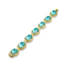 18K Yellow Gold Blue Topaz Twist Rope Bracelet