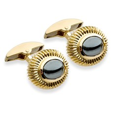 Ribbed Hematite Cufflinks