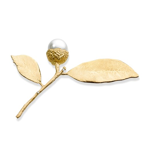 19k Yellow Gold & 18k Gold Acorn Leaf Pin