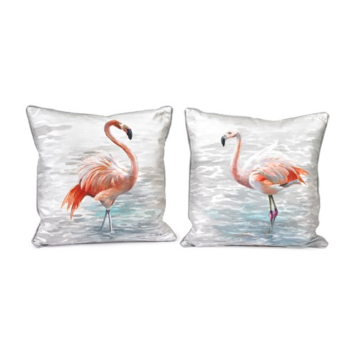 Handpainted Single Flamingo Silk Pillows