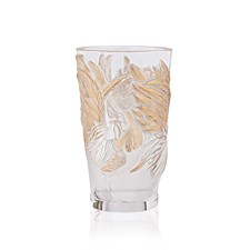 Lalique Rooster Vase, Clear & Gold Stamped