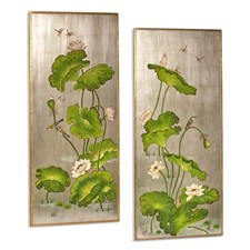 Silver Lotus Panels, Set of 2