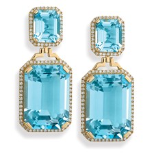 Blue Topaz Earrings with Diamonds