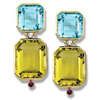 Blue Topaz and Citrine Drop Earrings