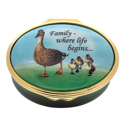 "Halcyon Days ""Family - where life begins..."" Enamel Box"
