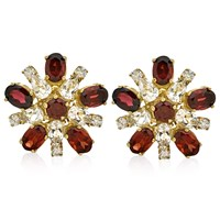 Diamond Burst Earrings, Garnet
