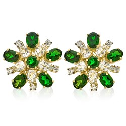 Diamond Burst Earrings, Chrome Diopsite