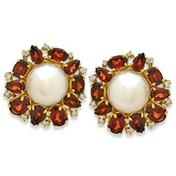 Diamond and Pearl Earrings, Garnet