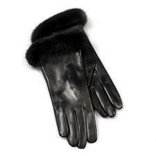 Ladies' Gloves, Black with Mink