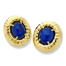Lapis Lazuli Hammered Earrings