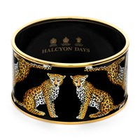Halcyon Days Handpainted Leopard Cuff Bangle