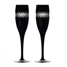 Waterford John Rocha Black Cut Collection Champagne Flute, Pair